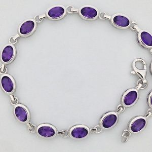Jewelry - 925 Sterling Silver Bracelet with Natural Amethyst